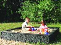 timber sandbox with silica free sand